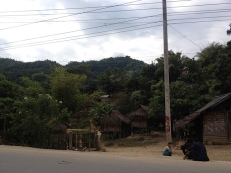 Hinter der Grenze in Laos gleich ganz neue Eindrücke. Urwald, Elefanten angeblich(ich habe keinen gesehen), Hütten und Kinder über Kinder.